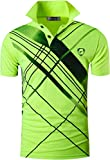 Jeansian Herren Summer Sportswear Wicking Breathable Short Sleeve Quick Dry Polo T-Shirts Wicking Breathable Running Training Sports Tee Tops LSL226 GreenYellow L [Apparel]