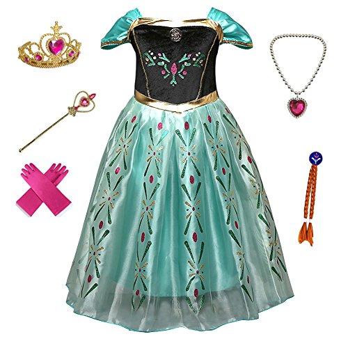 Anbelarui Prinzessin Kleid Mädchen Langes Festliches Karneval Kinder Glanz Kleider Weihnachten Verkleidung Karneval Partei Kostüm Outfit Halloween Fest (110 (Körpergröße 110cm, 07 ()