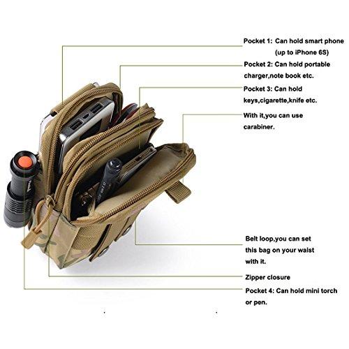 Erasky® Marsupio Tactical/ Marsupio Militare Borsa multi-funzionale /marsupio per attrezzatura da pesca/marsupio sportiva per escursioni campeggi ,impermeabile,all'aperto multifunzione (nero) camuffamento