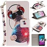Qiaogle Téléphone Coque - PU Cuir rabat Wallet Housse Case pour Samsung Galaxy A5 (2016) / A5 (2016) Duos / A510 (5.2 Pouce) - TX85 / Music Dog