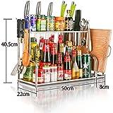 ZWS@ Estante de cocina de acero inoxidable Aterrizaje Rack de condimentos 2 Layer Incorporated Utensilios de cocina Suministros Colgadura de pared Estantería de cocina ( Tamaño : 50cm )