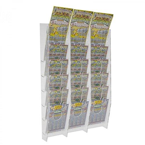 Avà srl espositore porta schedine e gratta e vinci da parete in plexiglass trasparente a 18 tasche - misure: 33 x 9 x h55 cm