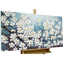 KunstLoft® cuadro acrílico 'Glamour in white' 140x70cm | Original pintura XXL pintado a mano en lienzo | Cerezo con flores blancas para el salón | Mural acrílico de arte moderno en una pieza con marco