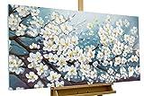 KunstLoft® Gemälde 'Glamour in White' in 140x70cm | Leinwandbild handgemaltes Bild | Blüte Blume Weiß deko Blütenmix Wohnzimmer | Wandbild-Unikat | Acrylgemälde auf Leinwand | Acrylbild auf Keilrahmen