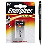 Energizer 6LR61 9V Max 522 MN1604 Size Power Seal Battery 9 V Everyday Alkaline General Purpose Long-lasting Genuine Batteries + 1x iSOUL Black Stylus touch Ball Pen by Energizer + iSOUL