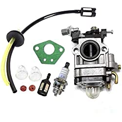Queta Carburateur pour Moteur de Débroussailleuse 52cc 49cc 43cc, Kit Carbu avec Joint, Tuyau, Bougie d'Allumage et Filtre à Essence