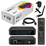 MAG 256 Original Infomir / HB-DIGITAL IPTV SET TOP BOX Streamer Multimedia Player Internet TV IP Receiver + Clé USB WiFi de HB-Digital avec antenne + HB Digital HDMI câble