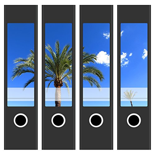 tten / Aufkleber / Rücken Sticker / mit Design Foto Palme / für breite Ordner / selbstklebend / 6 cm breit (Dekorative Ordner)