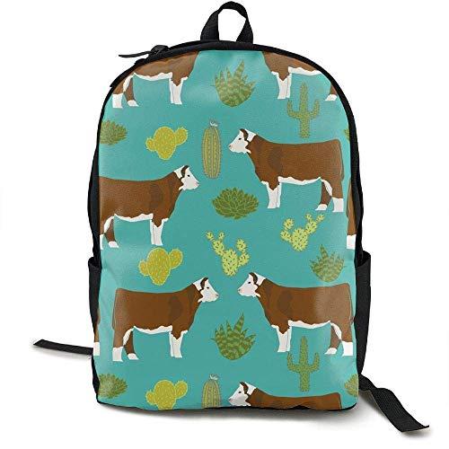 HOJJP Schultasche Hereford Cow Canvas Backpack Set Shoulder Bag Bookbag School Bag Travel Bag Girls Black - Black Cow Geldbörse