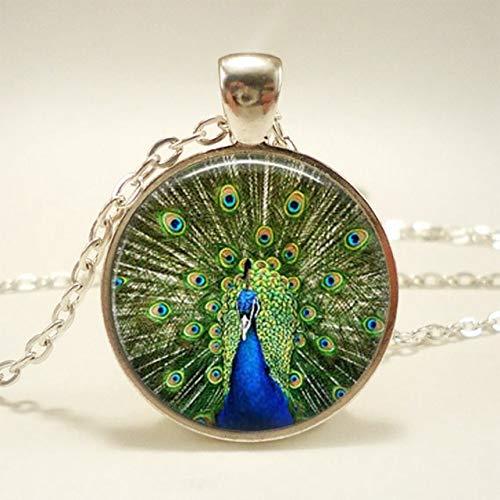 FUKAI Einfachen Schönen Pfauenfedern Halskette Glas Cabochon Pendent Für Männer Frauen Schmuck Kreative Exquisite Damen Geschenk