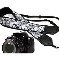 Sugar Skulls Kameragurt. Schwarz und Weiß Halloween Kameragurt. DSLR/SLR Kamera Gurt. Kamera Zubehör von intepro Code 00255