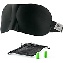 Eye Mask / Sleep Mask - Sleeping Masks for Men & Women * MONEY BACK GUARANTEE, Better than Silk - S4U Luxury Patented Contoured & Comfortable Sleep Mask & Ear Plug Set is the Best Blackout Eyemask it will Block Light but Wont Touch your eyes like other Eyemasks - Carry Pouch and Ear Plugs Included for FREE