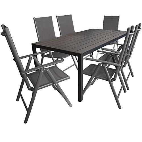 7tlg. Gartengarnitur, Aluminium Gartentisch mit Polywood-Tischplatte Schwarz 205x90cm + 6x Aluminium-Hochlehner mit 2x2 Textilenbespannung, 7-fach verstellbar, klappbar, anthrazit / Sitzgruppe Sitzgarnitur Gartenmöbel Terrassenmöbel