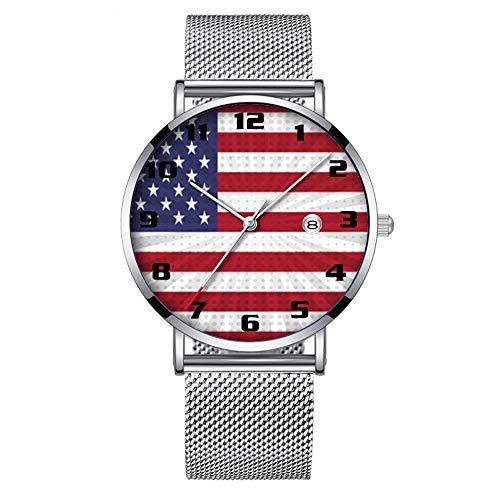 Minimalistische Mode Quarz-Armbanduhr Elite Ultra Thin Wasserdichte Sportuhr mit Datum mit Mesh-Band Moderner Entwurf der patriotischen amerikanischen Flagge 395