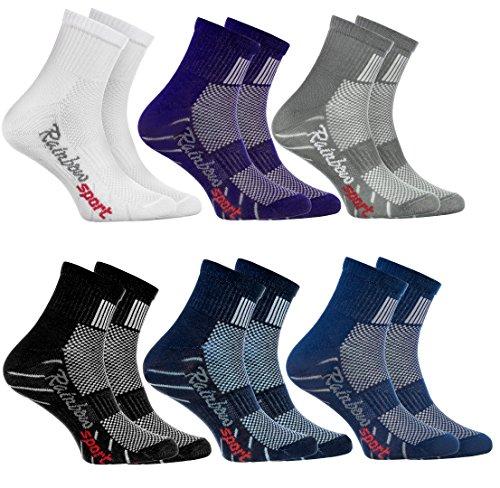 Rainbow Socks - 6 Paar Sportsocken für KINDER - Atmende BAUMWOLLE - zum Laufen, Radfahren und anderen Sportarten - Weiß Violett Grau Dunkelblau Schwarz Jeans Pack| Größen: 24-29, Made in EU (Größe Jungen Jeans 6)