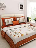 Shree Krishnam Art 100% Cotton Rajasthani Traditional Print King Size Double Bedsheet With Zipped 2 Pillow Covers...