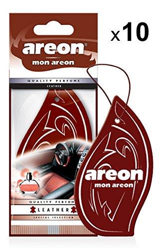 AREON Mon Ambientador Coche Cuero Colgante Colgar Olor Perfume Original Marrón Cartón Retrovisor Casa Oficina 2D (Leather Pack de 10)