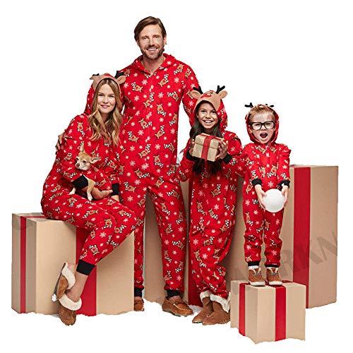 mit Kapuze, für die ganze Familie, passender Schlafanzug, Baumwoll-Mischgewebe, Red-Men, m ()