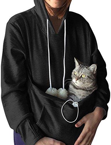Nlife Mode Frauen Männer Unisex Katze Ohr Langarm Hoodie Pollover Top mit Großen Känguru Tasche für Haustier Hund Katze Halter, L,  Black