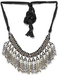 Cemaya Antique Black Metal Choker Necklace