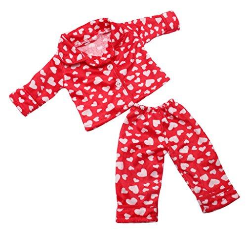 Baoblaze Modischer Puppen Schlafanzug Pyjama Hausanzug Jacke und Hose Set für 18 Zoll Mädchen Puppen - Rot (Nachthemd Puppe Und Mädchen)