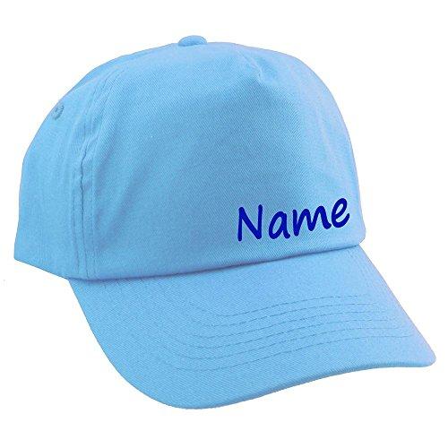 Junior Kinder CAP mit Namen oder Text personalisiert hellblau