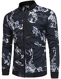 Cebbay Chaquetas para Hombres Camisa Otoño y el Invierno cálida impresión Cremallera Cuello Delgado diseño Delgado Liquidación