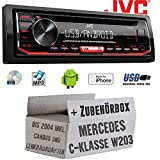 Mercedes C-Klasse W203 CanBus Lenkrad - Autoradio Radio JVC KD-R492 | CD | MP3 | USB | Android | iPhone - Einbauzubehör - Einbauset