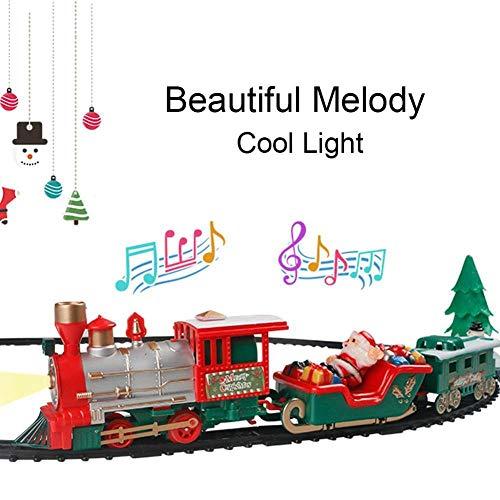 LZLWL Ensemble de Train de Vacances de Noël Express-Lumière et Son Petit Train pour Enfants Batterie Jouet Batterie Modèle de Train Ensemble de Train-Joyeux Noël pour Les garçons et Les Filles