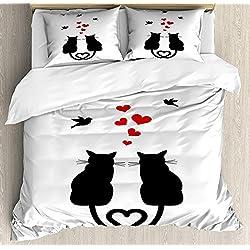 Juego de funda nórdica Love 3 PCS, Gatos enamorados con colas en forma de corazón Aves Siluetas de animales Tema de San Valentín, Juego de cama Colcha para niños / adolescentes / adultos / niños, rojo