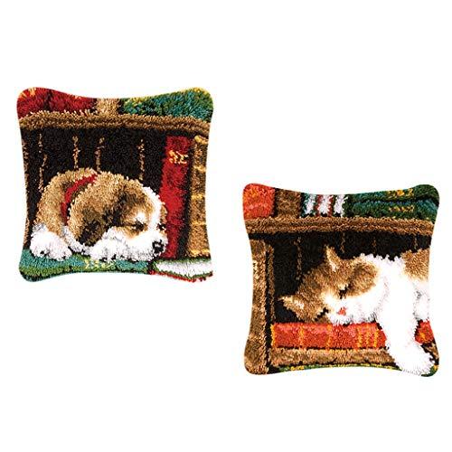 Baoblaze 2set DIY Tierisch Kissenbezug Knüpfkissen für Kinder und Erwachsene zum Selber Knüpfen Kissen Hülle, Latch Hook Rug Kit