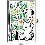 Instyledecal Instylewall Vinilo de pared Swing de oso con texto Life is Sweet infantil con diseño de flor