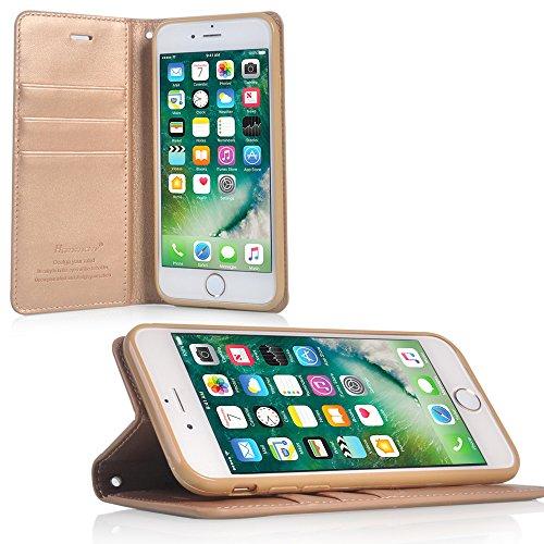 UKDANDANWEI Apple iPhone 8 Plus Hülle ,Flip Wallet Case,Lanyard Strap Leather Stand Handyhülle Portable Lederhülle Anti-Scratch [ID Card Slot] Magnetverschluss Soft Silikon Back Rückseite Cover Tasche Gold