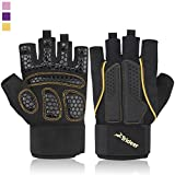 Breathable & Ultralight Padded Weight Lifting Gym Gloves, Half Finger (Fingerless) Multi-Colored Lines, Microfiber Material and Silica Gel Padded Grip Anti-slip Glove with Adjustable Strap for Wrist and Hand Support, TRIDEER Workout Training Sports Fitness Bodybuilding Exercise Glove for Women, Men, Ladies, Female, Available in 3 Colors(Golden, Pink, Purple) (Golden, M)