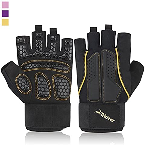 Trideer Breathable & Ultralight Padded Weight Lifting Gym Gloves, Half