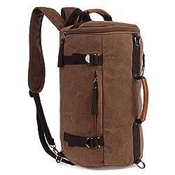 Fresion Canvas Laptop Backpack Travel Rucksack Handbag Camping Backpack Shoulder Messenger Bag Satchel School Bags (Coffee)