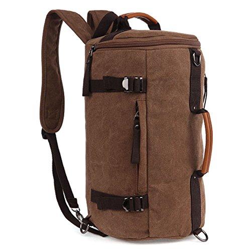 Fresion Canvas Rucksack Schulrucksack Daypack Laptoprucksack Umhängetasche mit der großen Kapazität für Herren Damen Outdoor Sports (Kaffee) (Reisetasche Rucksack)