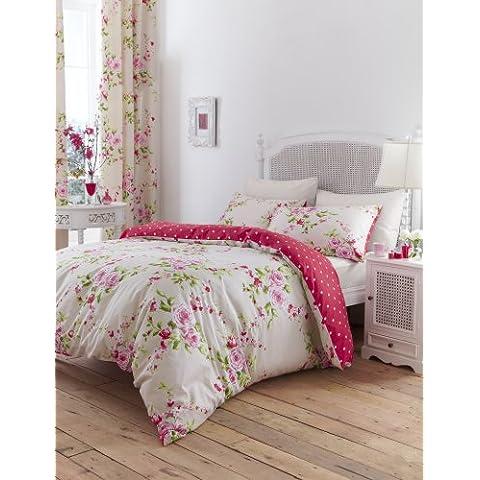 Catherine Lansfield BDB2-8239-WKHQ-rojo - Fundas para edredón, algodón, Lavable a máquina, Esta funda es reversible y Incluye fundas de almohada, color