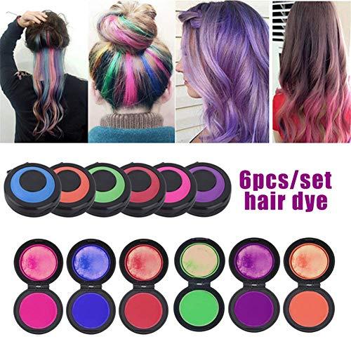 Zyyin set di gessi per capelli riutilizzabili portatili veloci e veloci, gesso da colorare per capelli temporaneo lavabile, 6 colori multicolore fai da te per capelli da colorare