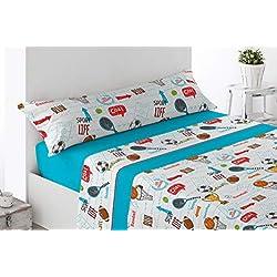 Cabetex Home - Juego de sábanas Infantiles - Motivos Deportivos - 3 Piezas - polialgodón (90_x_190/200 cm)