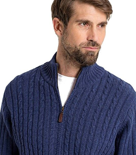 Wool Overs Gilet torsadé zippé Laine d'agneau Homme French Navy