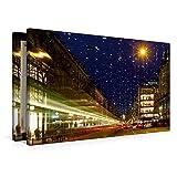 Premium Textil-Leinwand 90 x 60 cm Quer-Format Bahnhofstrasse in Zürich mit Weihnachtsbeleuchtung  ...