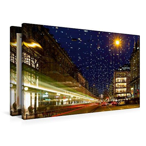 Premium Textil-Leinwand 90 x 60 cm Quer-Format Bahnhofstrasse in Zürich mit Weihnachtsbeleuchtung |...