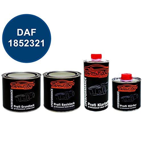 Preisvergleich Produktbild 1,75 Liter 2K Lack Set DAF 1852321 SEPANGBLAU M. ab 2010 - Grundlack spritzfertig & Autolack spritzfertig & Klarlack & Härter