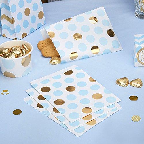 Papiertütchen Punkte hellblau gold 16,5 x 13 cm 25 Stück - Geschenktütchen Hochzeit Candy Bags Kindergeburtstag Mitgebsel Paper Bags Candy Bar Bonbontütchen Süßigkeiten-Tütchen Dots hellblau gold