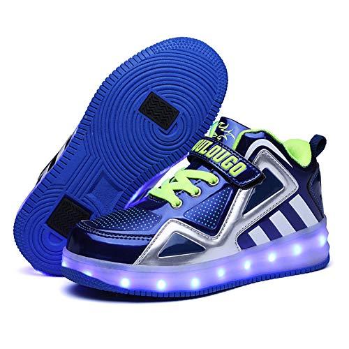 Scarpe da Ruota per Ricarica USB per Bambini con luci Scarpe da Skateboard a LED Scarpe da Tennis per Regalo per Principianti per Bambini Unisex per Bambine,C,36EU