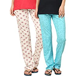 Womens Pant combo of 2 (wpant-circlepink-rbblue) (xl)