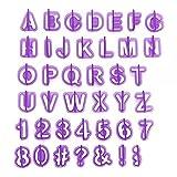 Anokay Fondant Ausstecher Buchstaben Ausstechformen Backen Set - Alphabet Zahlen Keksstempel für Torten Dekorieren Back Zubehör Backzubehör Tortendeko Weihnachten (40 teilig)
