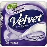 Matelassé En Velours Blanc pur Papier Toilette 4x 9par paquet