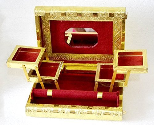 Große Indian Style Golden geprägt Metall Locking Maroon Schmuck Box–BNIB